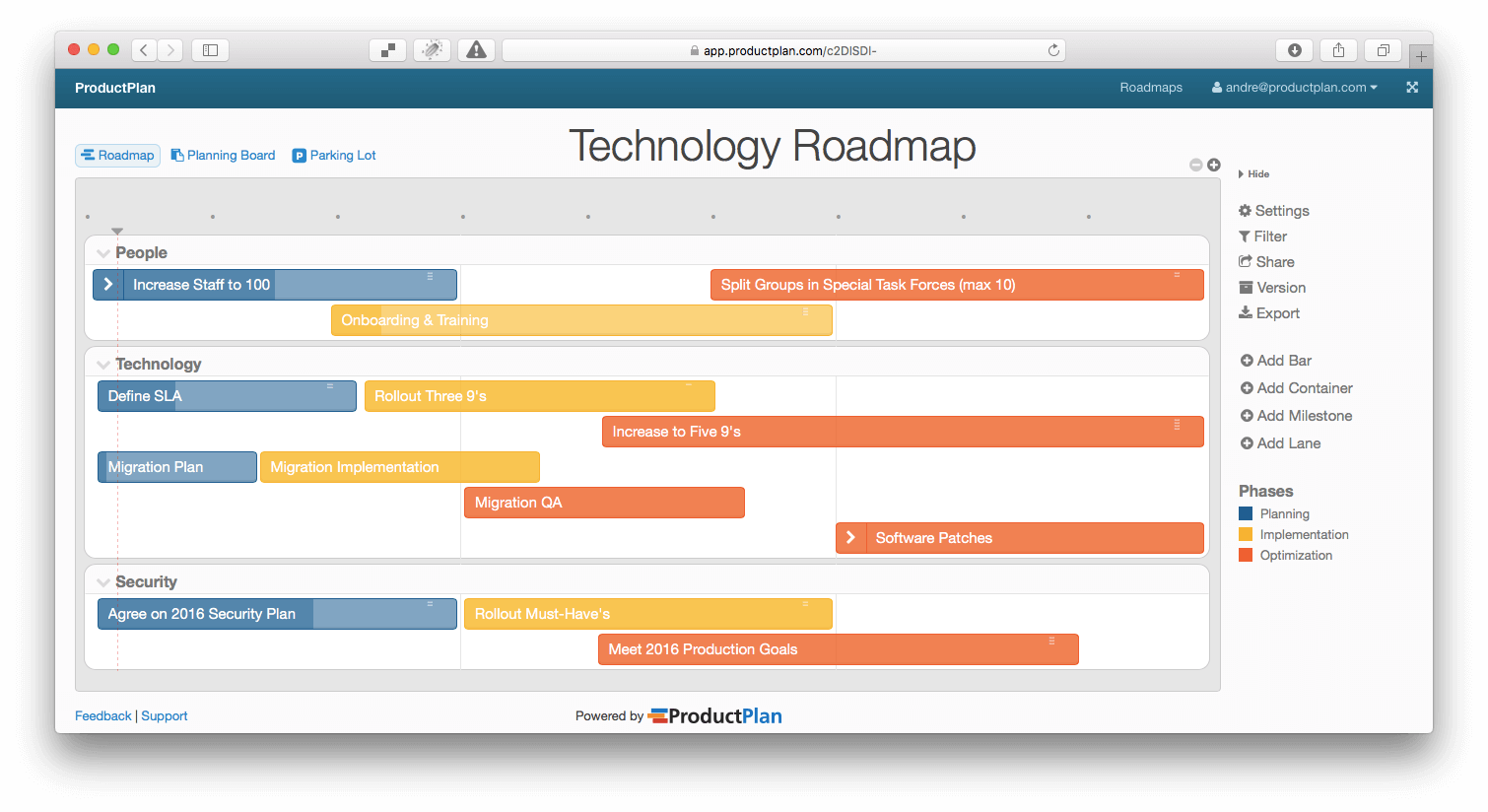 Three Example Technology Roadmaps