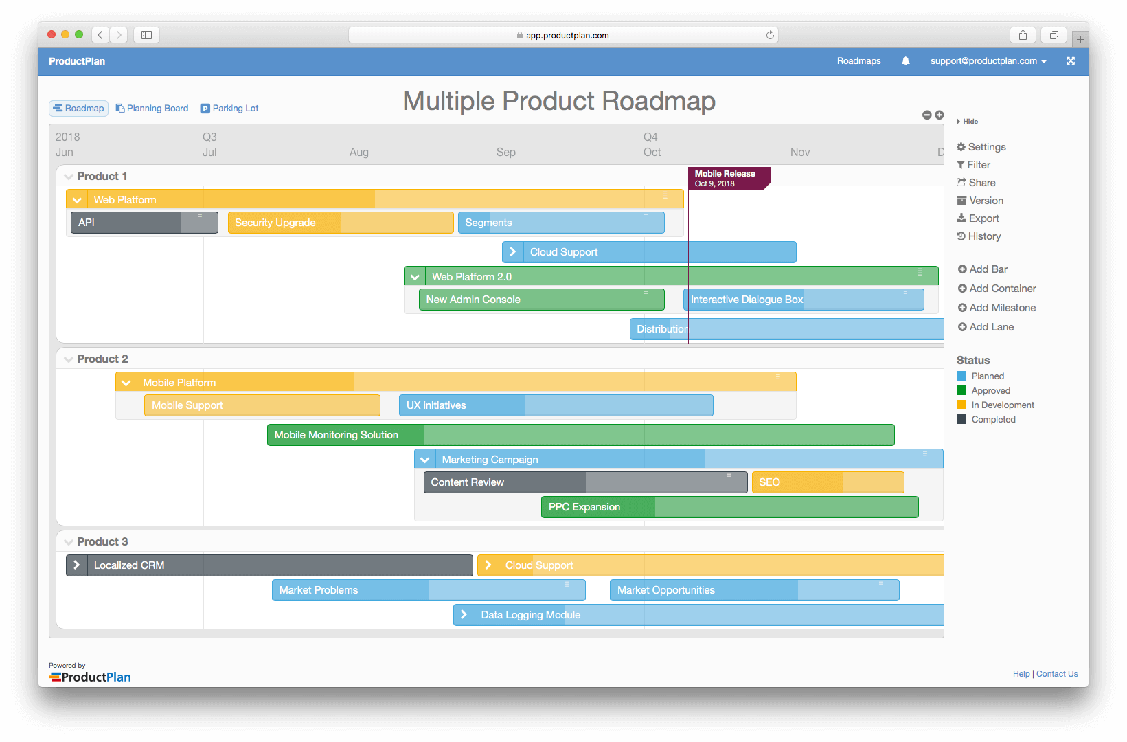 Multiple Product Roadmap Template - Company roadmap template